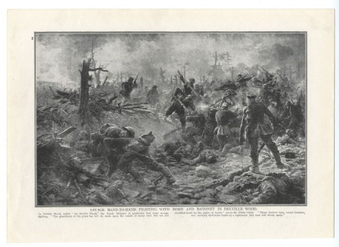 1916 Battle of DELVILLE WOOD Scene Savage Fighting South African Troops WW1